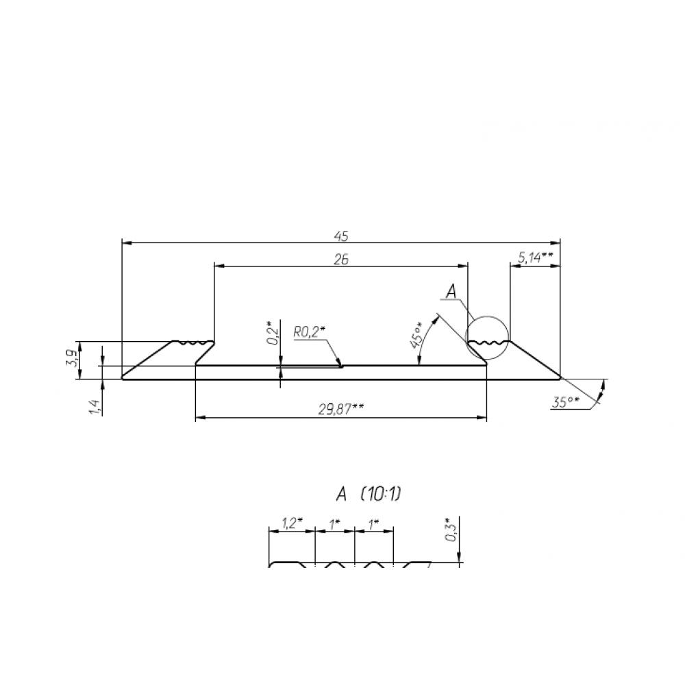 Алюминиевая полоса порог Премиум 46мм с резиновой вставкой