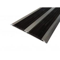 Алюминиевая антискользящая полоса ЕвроСтандарт для ступеней с двумя вставками 70 мм/5,5 мм