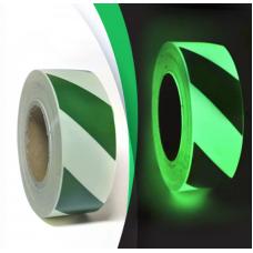 Лента фотолюминесцентная для линейной разметки с рисунком Полосы ГОСТ Р 12.2.143-2009 Glow Tape Zebra. Цвет: фотолюминесцентный салатовый