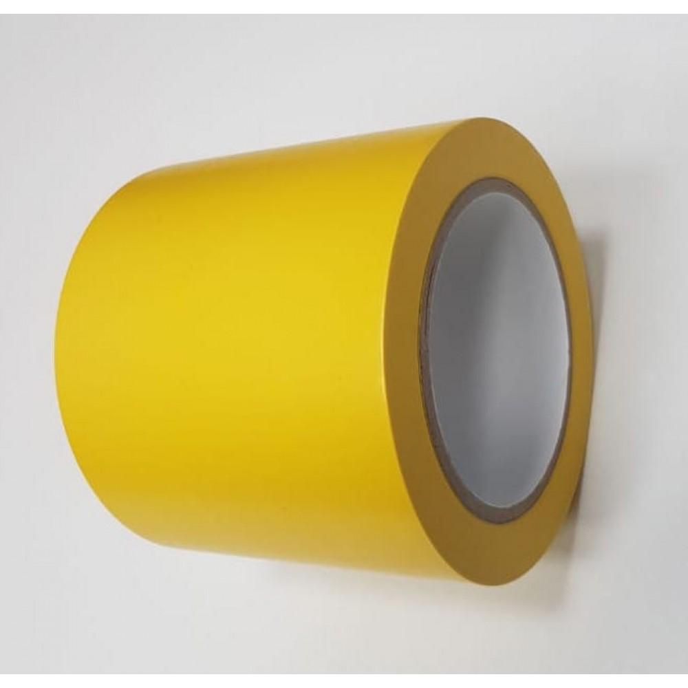 Лента ПВХ самоклеящаяся напольная, желтый цвет, 100мм х 33м, 150 мкр