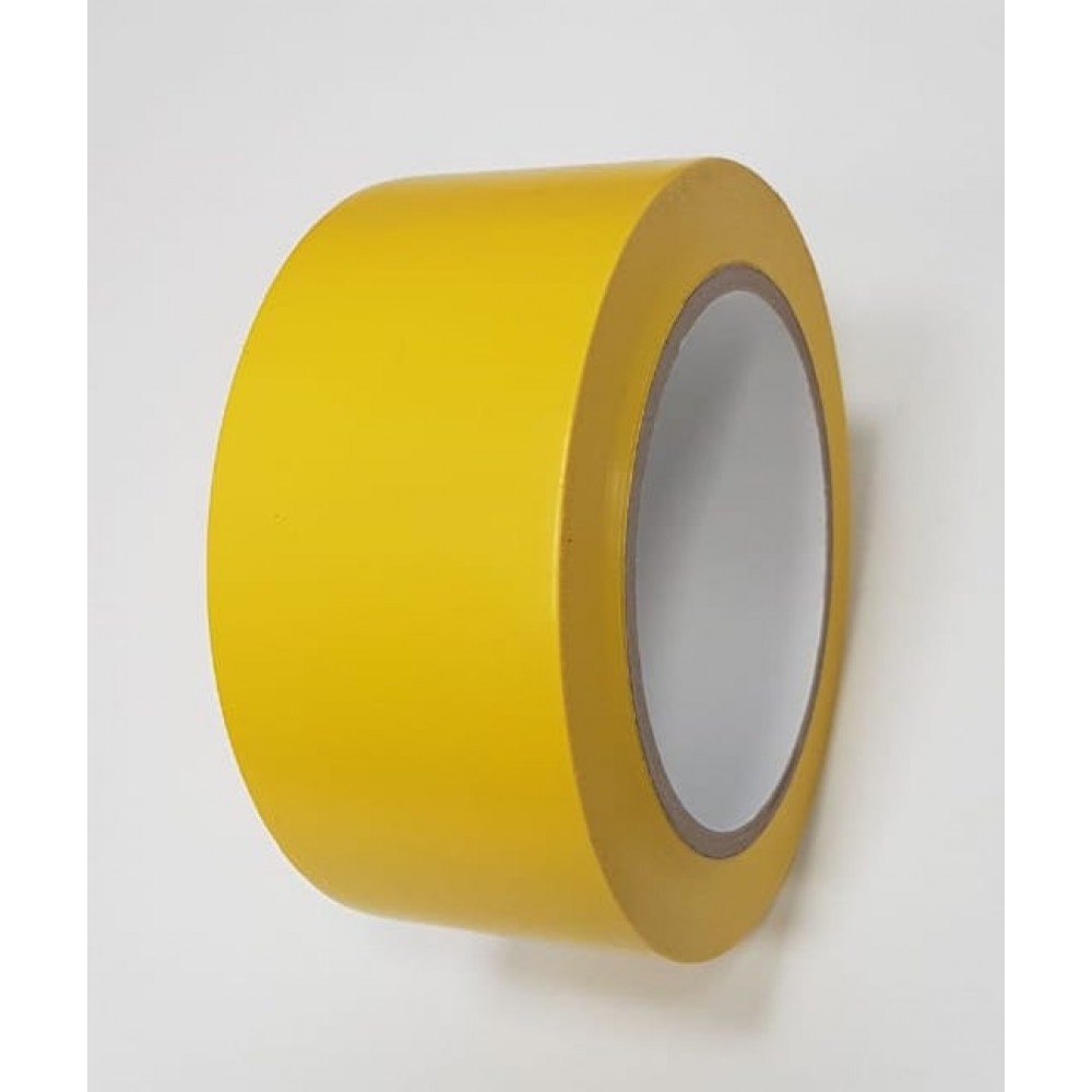 Лента ПВХ самоклеящаяся напольная, желтый цвет, 50мм х 33м, 150 мкр