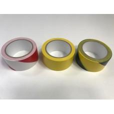 ПВХ лента для разметки и маркировки, желто-черный цвет, 150 мкр
