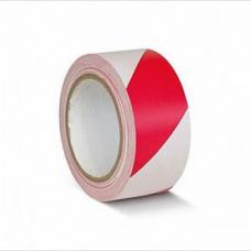 ПВХ лента для разметки и маркировки, красно-белый цвет, 50мм х 22м, 150 мкр