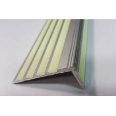 Алюминиевый Г-образный профиль для ступеней с 5 фотолюминесцентными  вставками