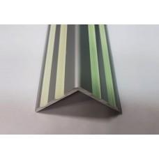 Алюминиевый Г-образный профиль для ступеней с 4 фотолюминесцентными  вставками