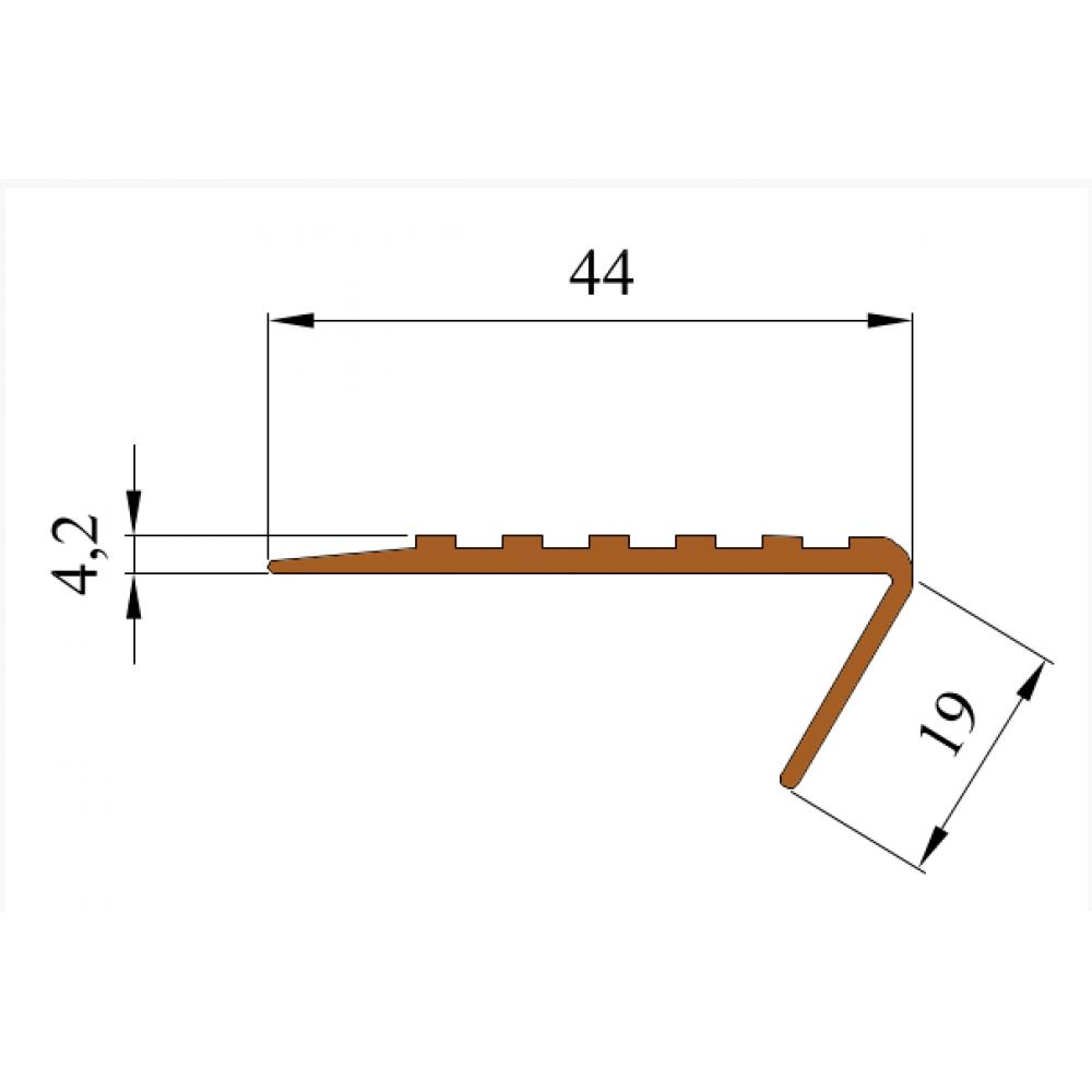 Cамоклеящийся тактильный угол против скольжения 44 мм